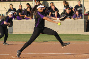 Lady Panther Alex Flores winds up for the pitch against the Hallsville LadyCats. Flores RBI on a triple and the 7th inning shut-out secured the 1-0 win for Lufkin. Photo: Bethany Baldwin | MSGPR)