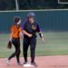 Lufkin Panther Catcher Sara Mayes celebrates after a double in the third inning before a lengthy rain delay. The Lady Pack would go on to win against Texas High 10-3.  (Photo: Misty Boggs)