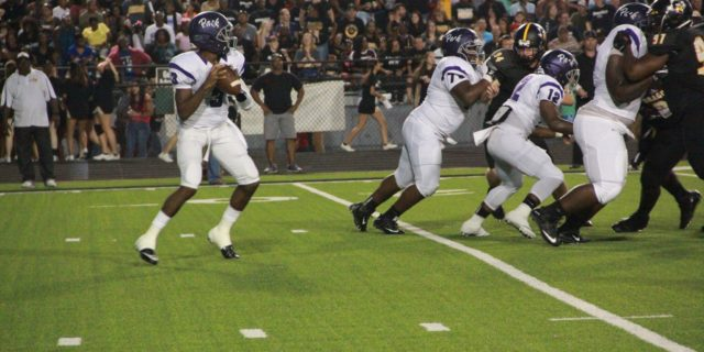 Panther QB Kordell Rodgers steps forward for a pass during the annual match up against Nacogdoches, earlier this year. (Photo: Grace Baldwin)